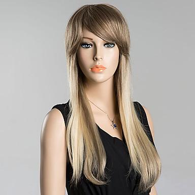 oblíqua bate nova moda longas perucas de cabelo humano em linha reta