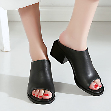 Women's Shoes Leather Summer Comfort Sandals Chunky Heel For Casual Black