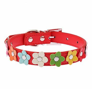 Kat Hund Krave Justerbare / Uttrekkbar Løp Håndfri Fritid Cosplay Blomsternål i krystall PU Leather Svart Rose Rød Blå Rosa