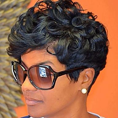 Cabelo Sintético perucas Ondulado Peruca Natural Preta