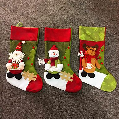 大規模なファッションクリスマスファブリック靴下ギフトバッグツリーの装飾鹿サンタ雪だるまパターンクリスマスストッキングのギフトバッグホルダー(スタイルランダム)