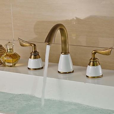 Håndvasken vandhane - Udbredt Antik Messing Centersat To Håndtag tre huller