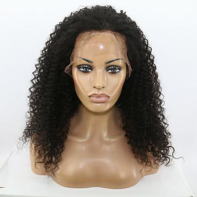 Aidot hiukset Lace Front Peruukki Kinky Curly 130% Tiheys Luonnollinen hiusviiva / Afro-amerikkalainen peruukki / 100% käsinsidottu Naisten Keskikokoinen / Pitkä Aitohiusperuukit verkolla