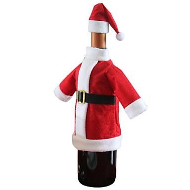 1pc julerød santa dragt tøj hat vinflaske taske dækning tabel middag dekoration gave