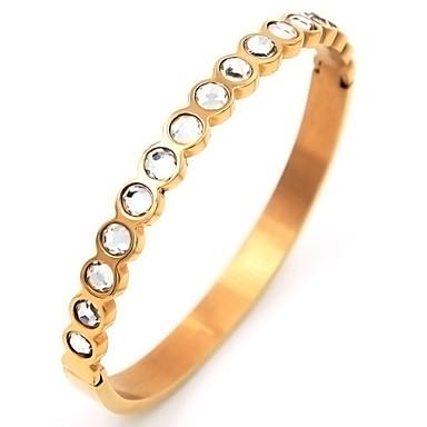 Dames Bangles Luxe Roestvast staal Verguld Gesimuleerde diamant Sieraden Feest Speciale gelegenheden  Vuosipäivä Verjaardag Onnea Lahja