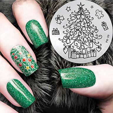 2016画像テンプレートプレートをスタンピング最新バージョンのファッションクリスマスツリーパターンのネイルアートを
