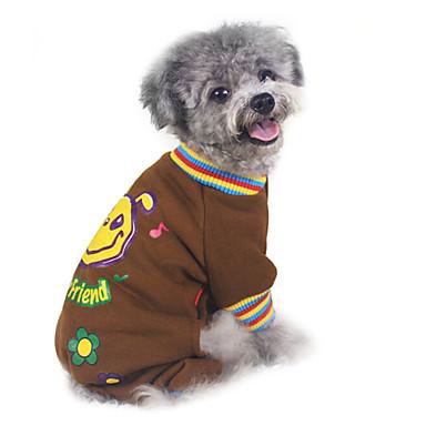 강아지 맨투맨 스웻티셔츠 점프 수트 강아지 의류 따뜻함 유지 패션 만화 그레이 브라운