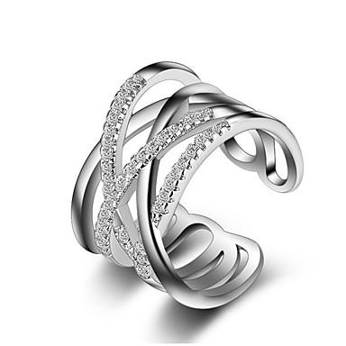 Χαμηλού Κόστους Μοδάτο Δαχτυλίδι-Γυναικεία Κρυστάλλινο Συνθετικό Diamond Crossover X δακτύλιο Band Ring Δαχτυλίδι για τη μέση των δαχτύλων wrap ring Rose Gold Ασήμι Στερλίνας Προσομειωμένο διαμάντι Cruce Love κυρίες Unusual