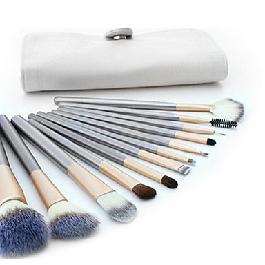 12st Make-up kwasten professioneel Brush Sets Kwast van geitenhaar Beugel Hout