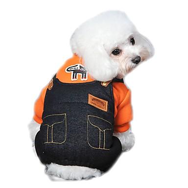 honden Jumpsuits Hondenkleding Winter Lente/Herfst Jeans Schattig Modieus Oranje Geel Roos
