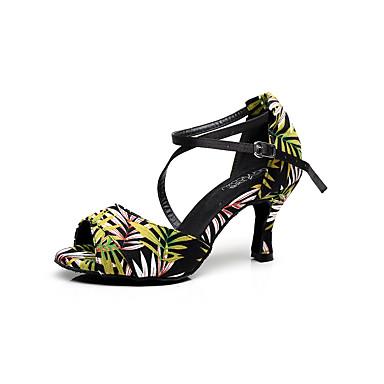 Mujer Zapatos de Baile Latino Satén Sandalia Flor de Satén Tacón Stiletto Personalizables Zapatos de baile Verde claro / Interior / Cuero