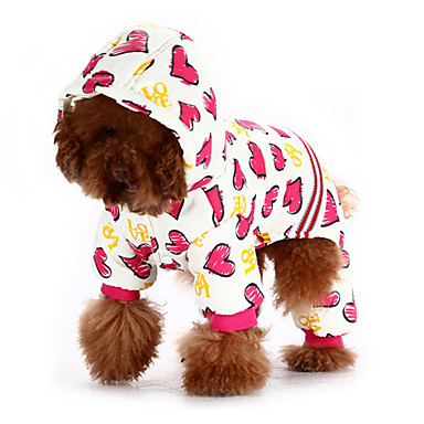 Cães Camisola com Capuz Macacão Roupas para Cães Inverno Primavera/Outono Corações Fofo Casual Mantenha Quente