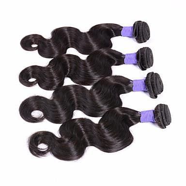 billige Parykker af ægte menneskerhår-4 pakker Peruviansk hår Krop Bølge 8A Menneskehår Menneskehår, Bølget Menneskehår Vævninger Menneskehår Extensions