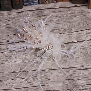 成人用 羽毛 ラインストーン ファブリック かぶと-結婚式 パーティー カジュアル ヘアクリップ 1個