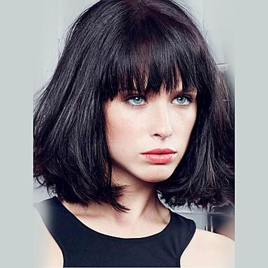 Mulher Perucas de cabelo capless do cabelo humano Preto jet médio Auburn Médio Auburn / Bleach Loiro Bege Loiro // Bleach Loiro Curto Liso