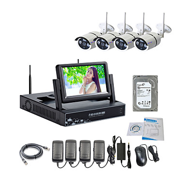 Strongshine® Wireless IP Camera with 960P/Infrared/Waterproof and NVR with 7Inch LCD /2TB Surveillance HDD Kits