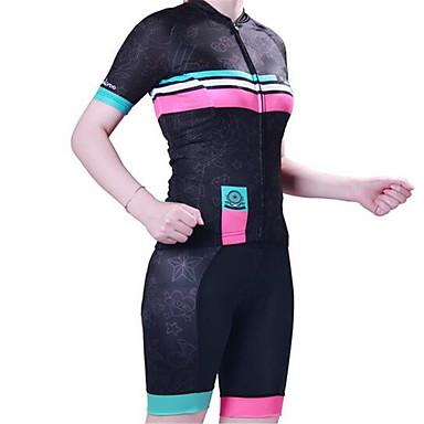 ショーツ付きサイクリングジャージー 女性用 半袖 バイク 洋服セット 速乾性 人間工学デザイン 抗紫外線 耐久性 高通気性 3Dパッド 防滑り バクテリア対応 低摩擦 モイスチャーコントロール 快適 ポリエステル100% シリコン クールマックス メッシュ ライクラ®
