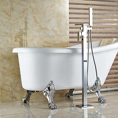 Moderno Arte Decorativa/Retro Modern Bañera y ducha Cascada Espray de Desmontable De pie Válvula Cerámica Sola manija Un agujero Cromo,