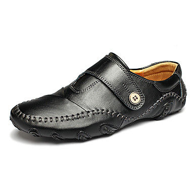 Masculino sapatos Couro Primavera Outono Conforto Mocassins e Slip-Ons Para Casual Preto Marron