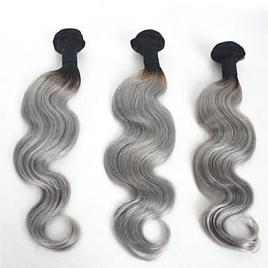 インディアンヘア ウェーブ 人間の髪織り 3個 0.3