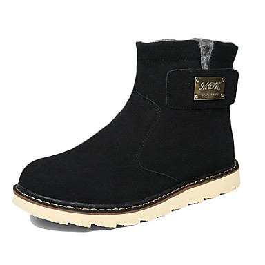 Heren Laarzen Comfortabel Weefsel Herfst Winter Causaal Comfortabel Platte hak Zwart Geel Bruin Plat