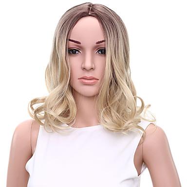 女性 人工毛ウィッグ キャップレス ミッドレングス ウェーブ ブリーチブロンド オンブレヘア ナチュラルウィッグ コスチュームウィッグ