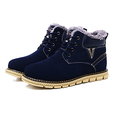 Herrn Schuhe Stoff Frühling Herbst Komfort Stiefel Schnürsenkel für Normal Braun Blau