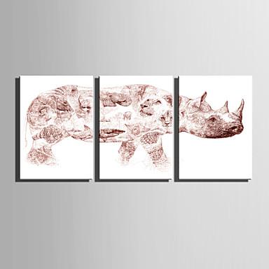 Canvas Set Abstract / Dieren Europese Stijl,Drie panelen Canvas Verticaal Print Art wall Decor For Huisdecoratie