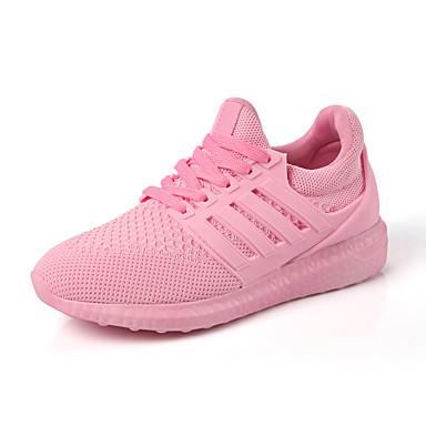 Dames Sneakers Comfortabel Lente Herfst PU Wandelen Causaal Veters Platte hak Wit Zwart Roze Plat