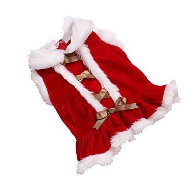 Kat / Hund Kjoler Hundeklær Ensfarget Rød Polar Fleece Kostume For kjæledyr Dame Jul