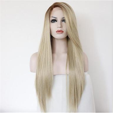 Pelucas sintéticas Recto Rubio Pelo sintético Pelo Ombre / Raíces oscuras / Entradas Naturales Rubio Peluca Mujer Larga Encaje Frontal