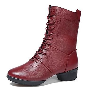 Mulheres Sapatos de Dança Moderna / Botas de Dança Couro Botas / Meia Solas Salto Baixo Não Personalizável Sapatos de Dança Preto /