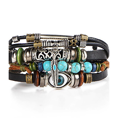cheap Bracelets-Men's Turquoise Stack Rope Plaited Wrap Wrap Bracelet Leather Bracelet Leather Turquoise Leaf Evil Eye Ladies Personalized Vintage Fashion Bracelet Jewelry Khaki / Green / Yellow / Royal Blue And