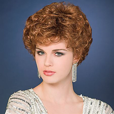 人工毛ウィッグ カール 密度 キャップレス 女性用 ブラウン ナチュラルウィッグ ショート 合成