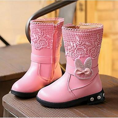 女の子 ブーツ コンフォートシューズ レザーレット カジュアル ブラック レッド ピンク フラット