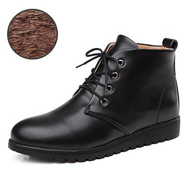 Feminino Sapatos Couro Primavera Outono Inverno Conforto Botas da Moda Botas Sem Salto Cadarço Para Casual Preto Marron