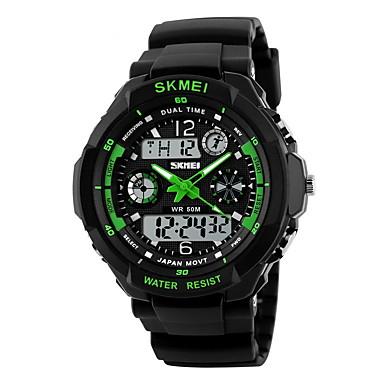 SKMEI Bărbați Ceas Sport / Ceas Militar  / Ceas de Mână Alarmă / Calendar / Rezistent la Apă Cauciuc Bandă Negru / LCD / Zone Duale de Timp  / Cronometru / Doi ani / Maxell626 + 2025
