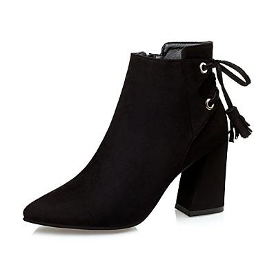 Dame-Mikrofiber-Tykk hæl-Komfort-Støvler-Formell-Svart / Grønn / Grå