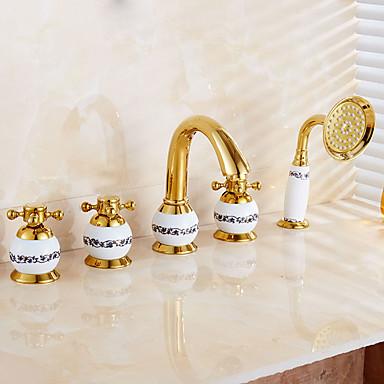 浴槽用水栓 - コンテンポラリー アールデコ調 / レトロ風 近代の Ti-PVD バスタブとシャワー 真鍮バルブ