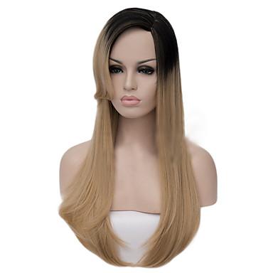 Pelucas sintéticas Recto / Liso Natural Corte asimétrico Pelo sintético Entradas Naturales Marrón Peluca Mujer Larga Sin Tapa Negro / Strawberry Blonde