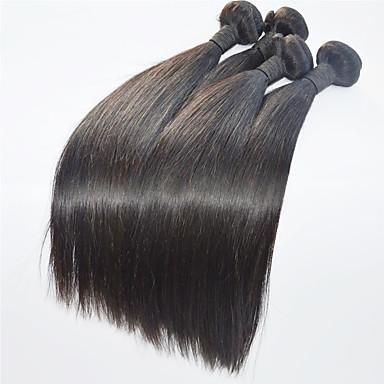 4 paquetes Cabello Brasileño Recto Cabello humano Tejidos Humanos Cabello Cabello humano teje Extensiones de cabello humano / Corte Recto