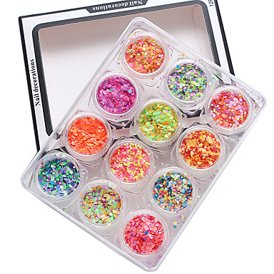 12pcs Hel Negle Tipper Pailletter Negle kunst Manicure Pedicure Plast Klassisk Daglig