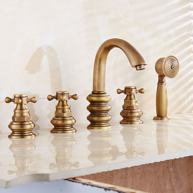 浴槽用水栓 - アンティーク 近代の 伝統風 アンティーク銅 バスタブとシャワー 真鍮バルブ