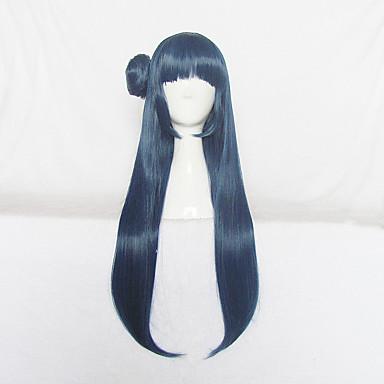 Perucas de Cosplay Amar viver Fantasias Azul Longas Anime Perucas de Cosplay 80cm CM Fibra Resistente ao Calor Feminino