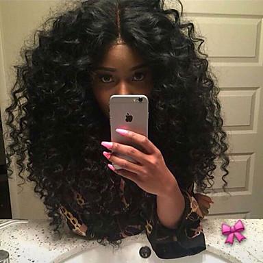 Syntetisk blonder foran parykker Krøllet Syntetisk hår Varme resistent / Naturlig hårlinje / Midtskill Svart Parykk Dame Medium Lengde Blonde Forside Svart / Afroamerikansk parykk