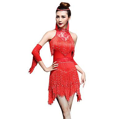 ריקוד לטיני שמלות / מכנסיים קצרים בגדי ריקוד נשים הצגה ניילון / Chinlon פרנזים / קריסטלים / אבנים נוצצות ללא שרוולים גבוה שמלה / כפפות