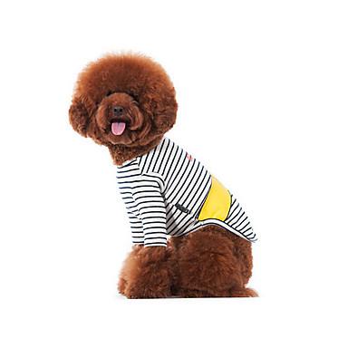 犬 Tシャツ スウェットシャツ 犬用ウェア 縞柄 ブラック/ホワイト コットン コスチューム ペット用 男性用 女性用 カジュアル/普段着