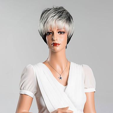 nova chegada inteligentes perucas capless retas curtas de alta qualidade cabelo humano cor misturada