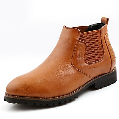 メンズ 靴 レザー 冬 秋 ファッションブーツ チェルシーブーツ ブーツ 編み上げ のために カジュアル ブラック ライトブラウン バーガンディー