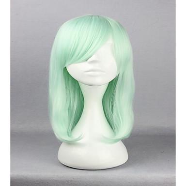 Syntetiske parykker / Kostymeparykker Rett Syntetisk hår Parykk Dame Lokkløs Grønn